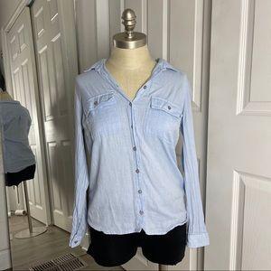 Topshop Blue Button Up Collar Long Sleeve Top
